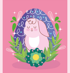happy easter rabbit with egg behind flowers leaves vector image