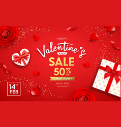 happy valentines day poster banners gift box heart vector image