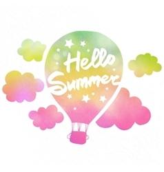 Hello summer air balloon vector image