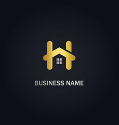 House realty h initial gold logo vector