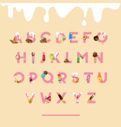 Ice cream alphabet design with chocolate fruits vector