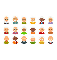 Icon with avatar older people for concept design vector