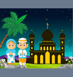 Islamic mosque cartoon in mubarak night with vector
