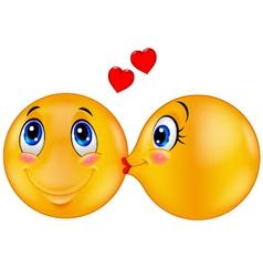 Kissing emoticon vector