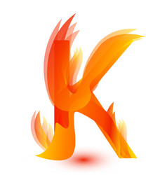 letter k in fire flame icon vector image