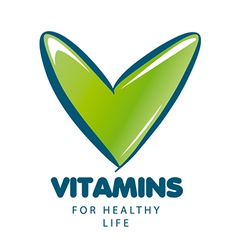 Logo vitamins with green tick vector