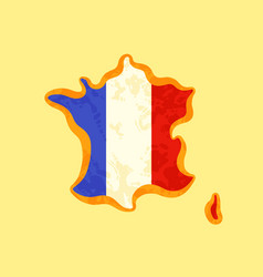 Map of france colored with french flag vector