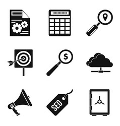 market research icons set simple style vector image