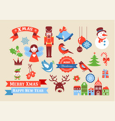 Merry christmas icons retro style elements and vector