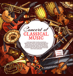 musical instrument poster for music concert design vector image