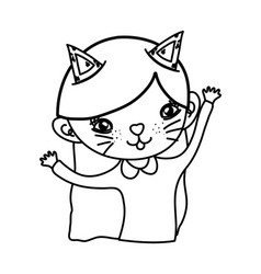Outline nice girl with kitten costume and ears vector