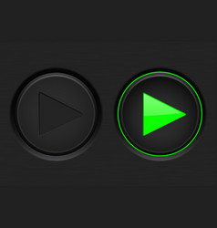 play button black button with green backlight vector image