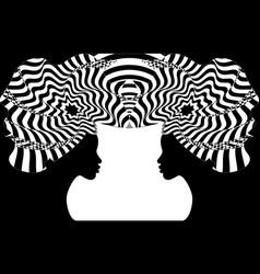 Portrait beautiful afro women head wrap ankara vector