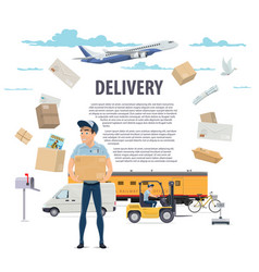 Post mail delivery and postman poster vector