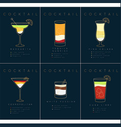 poster cocktails margarita dark blue vector image