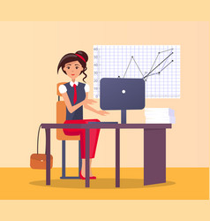 Pretty woman office workplace typing on computer vector