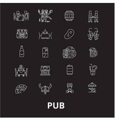 pub editable line icons set on black vector image
