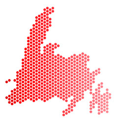 Red dotted newfoundland island map vector