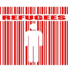 Refugees word and human icon in barcode vector