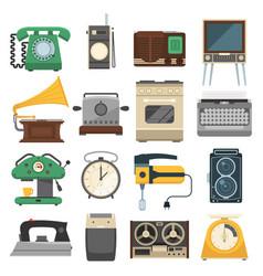 Retro vintage household appliances set vector