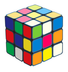 Rubiks cube isolated on white background vector