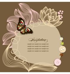 Scrapbook design invitation template with flowers vector
