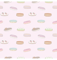 Seamless pattern of the delicious eclairs vector image
