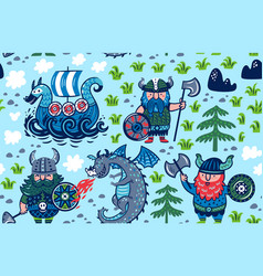 seamless pattern with vikings ship and dragon in vector image