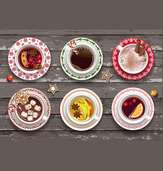 set different cups warming autumn vector image