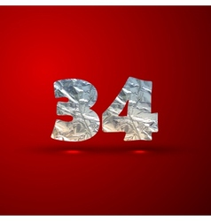 set of aluminum or silver foil numbers 3 4 vector image