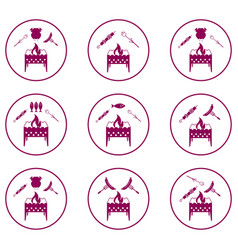 set of braziercooking icons vector image