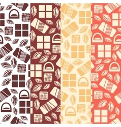 Set of seamless pattern with chocolate sweets vector