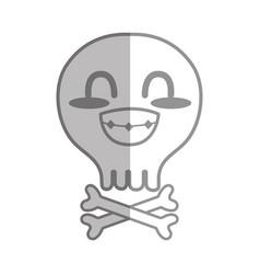Silhouette kawaii cute tender skull with bones vector