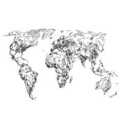 Sketch of earth world map hand drawn continents vector