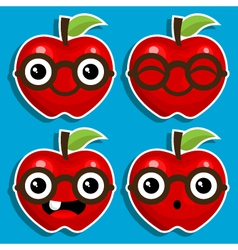 Smart Apples with Eyeglasses vector image