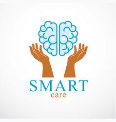 Smart care concept logo or icon design of human vector