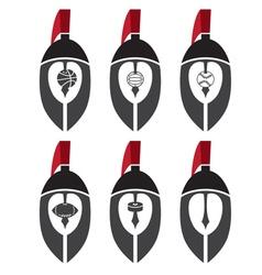 Spartan warrior helmets as emblem sports teams vector