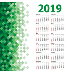 stylish calendar with abstract triangle mosaic vector image
