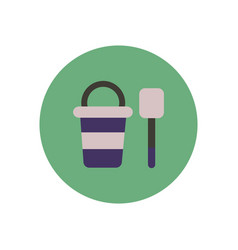 Stylish icon in color circle bucket shovel vector