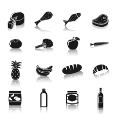 Supermarket foods pictograms vector