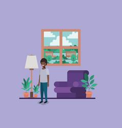 Teenager black boy in livingroom vector