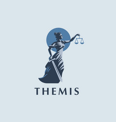 the goddess themis with a sword vector image