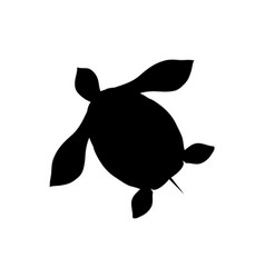 turtle silhouette isolated icon amphibian vector image