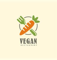 vegan restaurant logo design emblem vector image