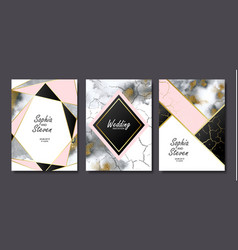Wedding invitation cards with gold and grey marble vector