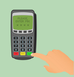 wireless payment concept pos terminal is waiting vector image
