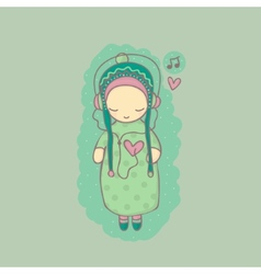 with girl listening to music vector image
