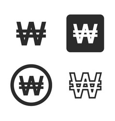 won currency symbol set vector image