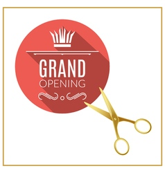 Grand opening circle button with golden scissors vector