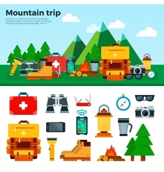 Travel concept climbing equipment sport items vector